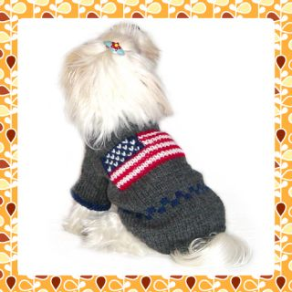 Fido Co Handknitted Wool Dog Sweater Coat Americana 10