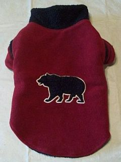 Woolrich Winter Dog Coat Red Black Fleece Faux Fur with Appliqued Trim