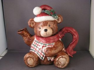 fitz and floyd christmas teddy bear tea pot 1991
