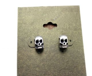 punk silver pleated skull stud Earrings womens fashion jewelry earring
