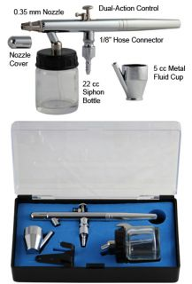 New 0 35mm Dual Action Siphon Feed Airbrush Spray Paint Gun Kit Set