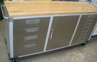 FOOT SEVILLE STAINLESS STEEL CABINET ROLLING WORKBENCH W WOODEN TOP