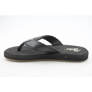 Flojos Cole II Youth Kids Boys Size 13 Black Leather Flip Flops