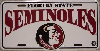 NCAA Aluminum License Plate Florida State Seminoles New