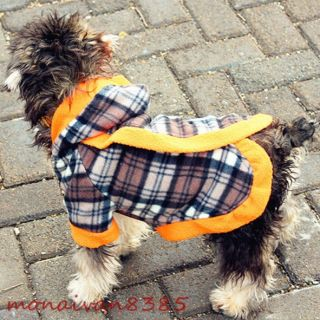 Fleece Faux Fur Checked Puppy Dog Coat Hoodie Dog Clothes Apparel