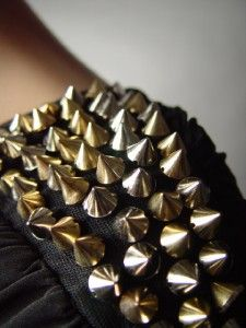 Spike Stud Studded Glam Rock Vamp Sexy Club Party Black Blouson Mini