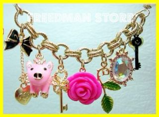Betsey Johnson Flying Pig Rose Scepter Rhinestone Charm Pearl Chain
