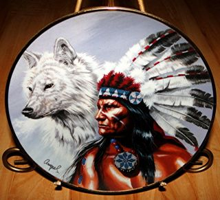 SPIRIT OF THE WHITE WOLF American Indian FRANKLIN MINT PLATE