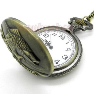 Bronze Fishing Angling Quartz Pocket Watch Necklace Pendant Mens Gift
