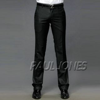Casual Formal Long Pants Slim Style Trousers Blk Gray XS M