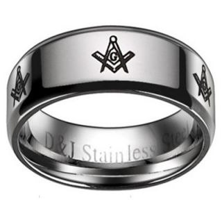 FREEMASON MASONIC Rings Silver color Stainless Steel wedding women men