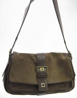 Francesco Biasia Brown Suede Leather Shoulder Handbag