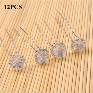 12pcs Charming Rhinestone Flower Hair Pins Wedding Bridal Hairpins