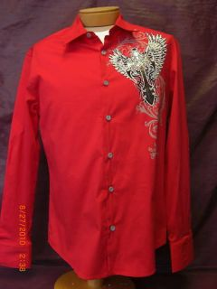Bizzo Mens Red Long Sleeve Dress Shirt with Sequin Graphic Cross