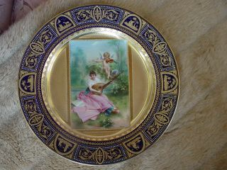 ANTIQUE SIGNED WAGNER ROYAL VIENNA ANGEL & MAIDEN PLATE COBALT GOLD
