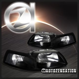 99 04 Ford Mustang Cobra Crystal Black Headlights Clear Reflector
