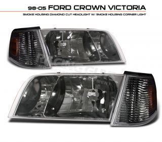 98 08 Ford Crown Victoria LX 4pc Head Light Corner Signal Headlights