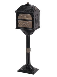 GAINES CLASSIC SERIES MAILBOX DECORATIVE CAST MAIL BOX W/ ANTIQUE
