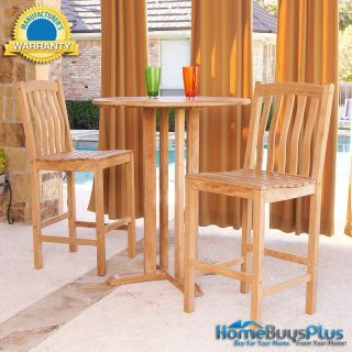 Pc Bar Pub Table And Stools Barstool Teak Wood Outdoor Furniture