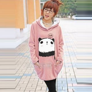 DN00 Fashion Korean Fleece Sweatshirt Cute Panda Hoodie Loose Lady