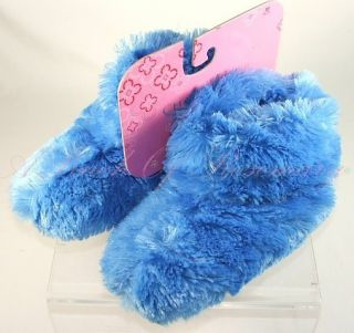Charter Club Plush Fuzzy Soft Bootie Slippers Blue