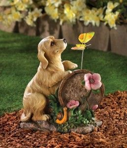 golden retriever dog puppy solar light garden statue