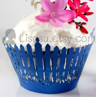 White Garden Picket Fence Lace Cupcake Wrappers Wedding Party Cake