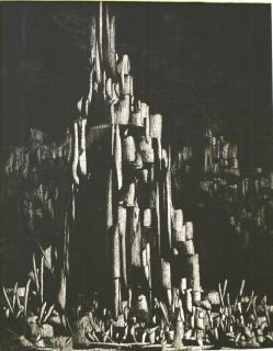 GEORGE MILLER ORIGINAL CITYSCAPE ABSTRACT CHARCOAL PAINTING SIGNED