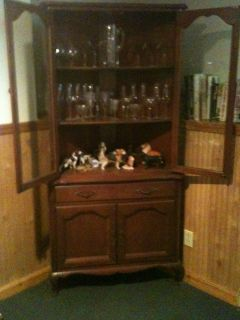 Antique 1835 Solid Maple Gibbard Craftsmen Corner China Cabinet