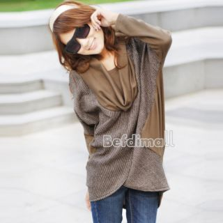 Autumn Fashion Irregular Long Contrast Color Bat Sleeves Shirts Blouse