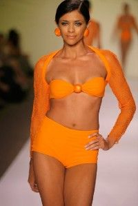 Gideon Oberson Orange Marbles Tank Swimsuit 6 $138