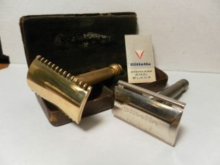 Vintage 2 GILLETTE Safety RAZOR 3 Piece Double Edge Case Gold Silver