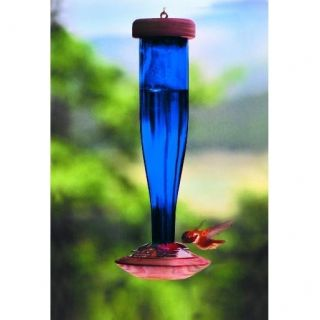 Schrodt Cobalt Blue Unetched Glass Hummingbird Feeder