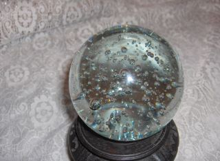 Godinger Gazing Crystal Ball Art Glass Bubbles Paperweight Stand