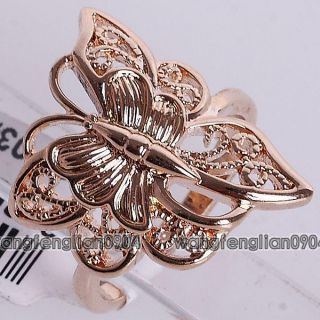 18kt Gold Plated Butterfly Cute Ring 093689