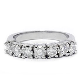 00ct 7 Stone Round Diamond Timeless Wedding Band 14k White Gold