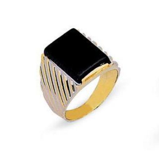 Mens Solid 14k Two Tone Gold Black Onyx Ring