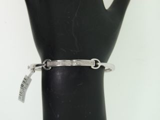 Ladies White Gold Finish Pave Diamond Bracelet Bangle