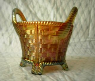 Northwood Aqua Color Carnival Glass Basket Irridized Marigold