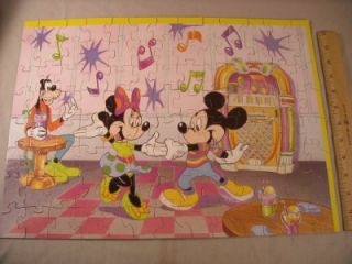Disney 100 Piece Mickey Minnie Puzzle Goofy Soda Shop Complete