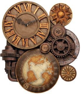 Steampunk Global Industrial Gears Bold Roman Numeral Timepiece Wall