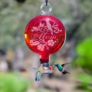 Sundrop Mom Red Blown Glass Hummingbird Feeder Parasol