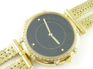 Vintage 18K Gold Gerald Genta Diamond Mens Quartz Watch