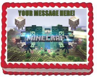 Minecraft Animals Grassy Theme QUARTER SHEET Edible Cake Topper Image