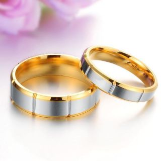 Fashion Titanium Steel Gold Ring Couple Wedding Bands Shine Jewelry