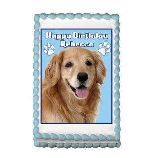 Golden Retriever Dog Puppy Edible Party Cake Image Topper