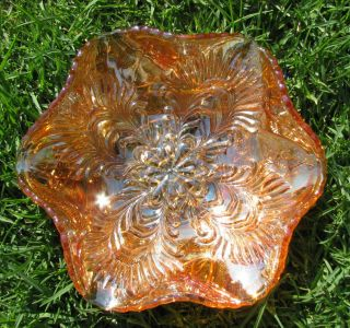 Brockwitz Germany Curved Star Headress Marigold Carnival Glass Bowl