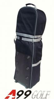 T03 A99 Golf Bag Travel Cover Wheeled Rolling New Black Grey