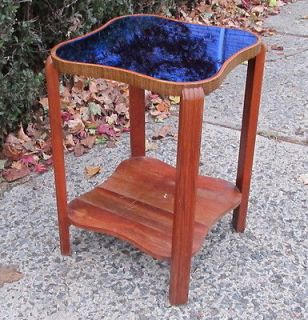 30s Depression Art Deco Cobalt Blue Mirror Glass End Side Table Eames
