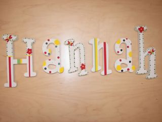 Custom Painted Wood Letters Baby Nursery Wall Wooden